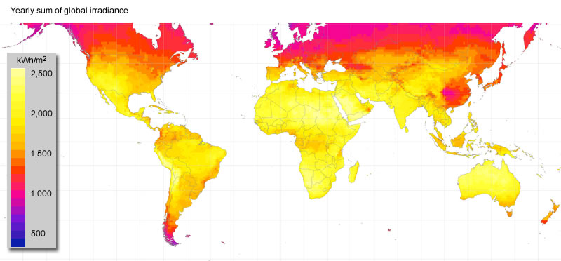 Annual Solar Irradiance - Us insolation map